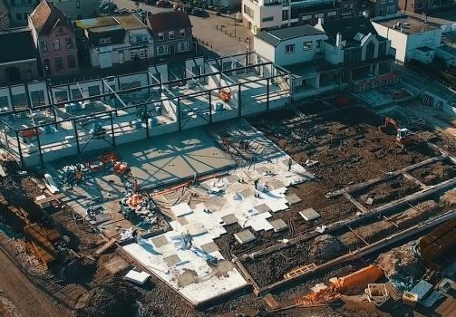 Nieuwbouwproject van KIKX Development, Dura Vermeer en Lidl Nederland op indrukwekkende wijze vanuit de lucht in beeld gebracht