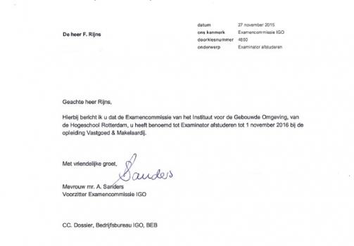Frans Rijns benoemd tot 'Extern examinator' aan de Hogeschool Rotterdam